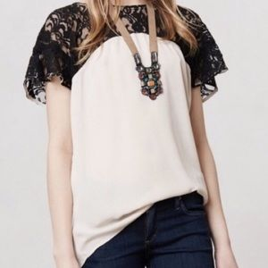 Anthropologie Maeve Cream/Black Lace Blouse M